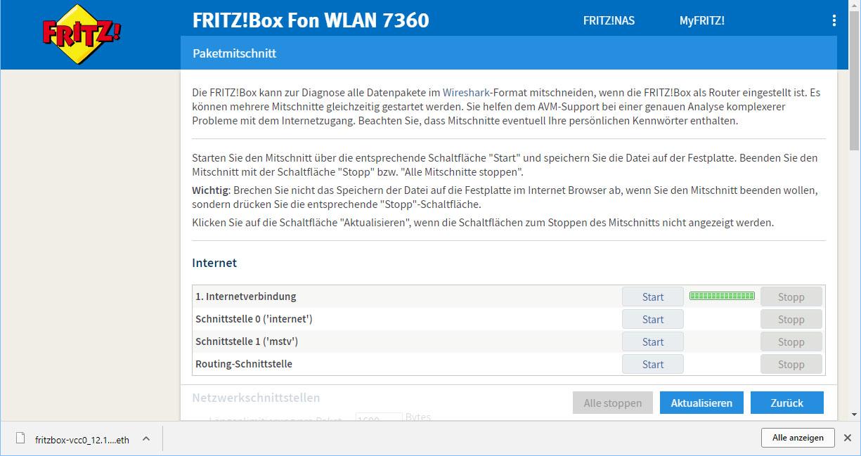 Datenpakete per FritzBox Router mitschneiden