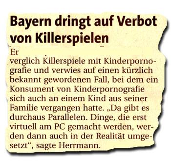 FTD 2.9.2008: Bayern dringt auf Verbot von Killerspielen