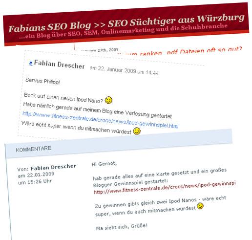 Das ist kein virales Marketing, das ist Blog-Spamming. Aber es gibt leider immer genügend Deppen, die bei sowas mitmachen.