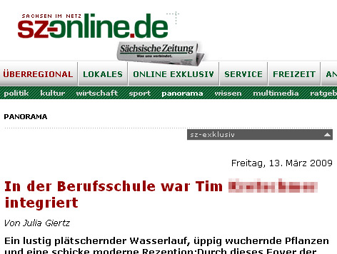 Voller Name in der Sächsischen Zeitung...