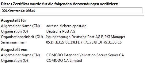 Die ePost Webseite ist über den US Anbieter COMODO zertifiziert. Dabei hat die DPAG eine eigene Zertifizierungstochter Signtrust