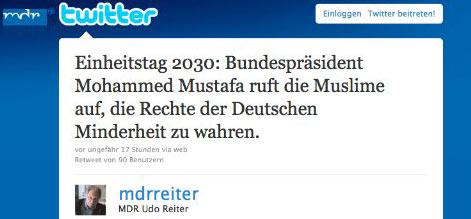 Einheitstag 2030: Bundespräsident Mohammed Mustafa ruft die Muslime auf, die Rechte der Deutschen Minderheit zu wahren.