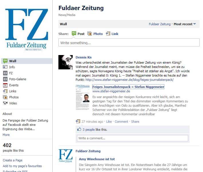 FZ Diskussionsversuch auf Facebook