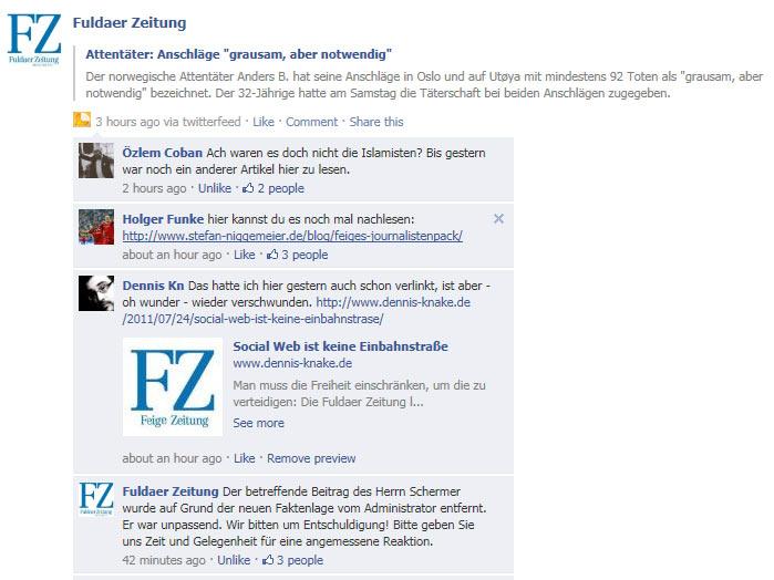 Fuldaer Zeitung Reaktion