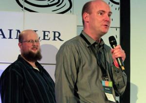 Wikimedia Vorstand Pavel Richter (r.) und Admin Dirk Franke (l.) wollten für mehr Verständnis werben. Mit zweifelhaften Erfolg.