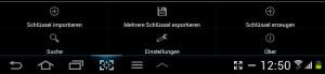 Über den Menübutton ihres Android-Devices erreichen Sie in APG die Einstellungen für den Schlüsselimport. (Screenshot Galaxy Tab 2)
