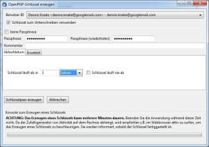 Für alle eingerichteten E-Mail Accounts können Sie nun bequem PGP-Schlüsselpaare erstellen.