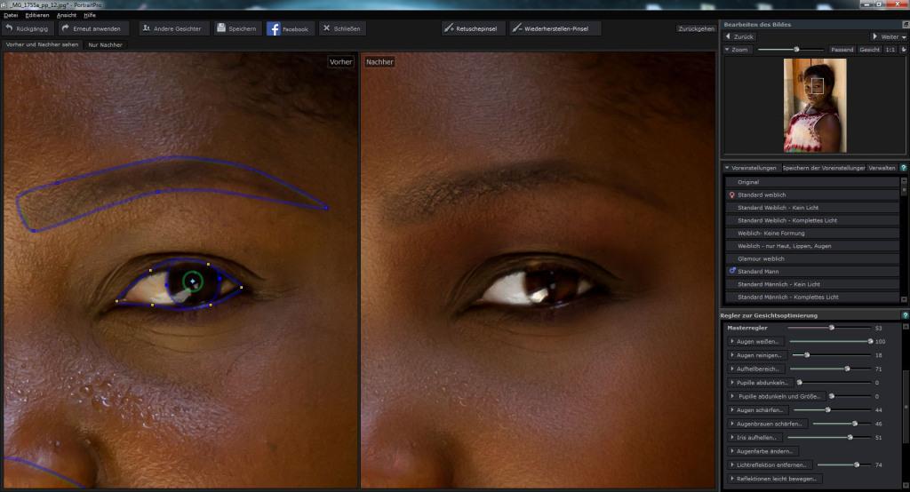 Augen bearbeiten