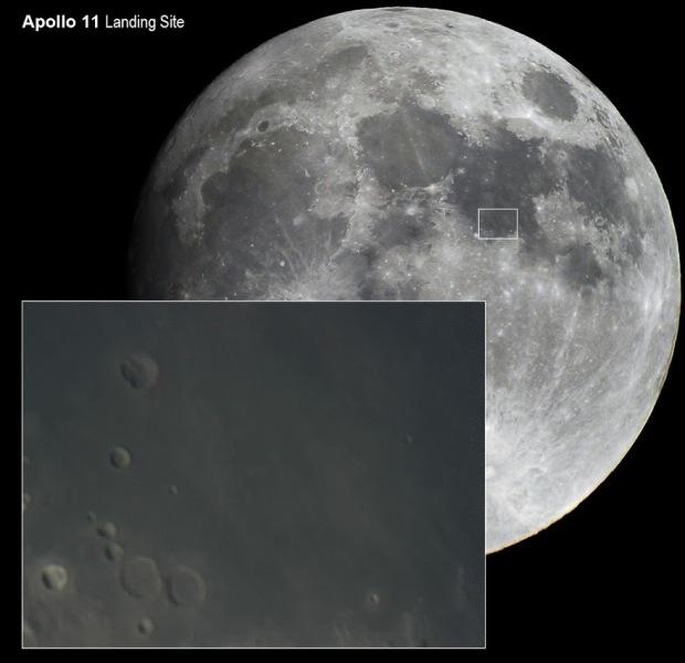 Landegebiet der Apollo 11 Mission. Fotos: Autor mit Celestron C8 Teleskop.