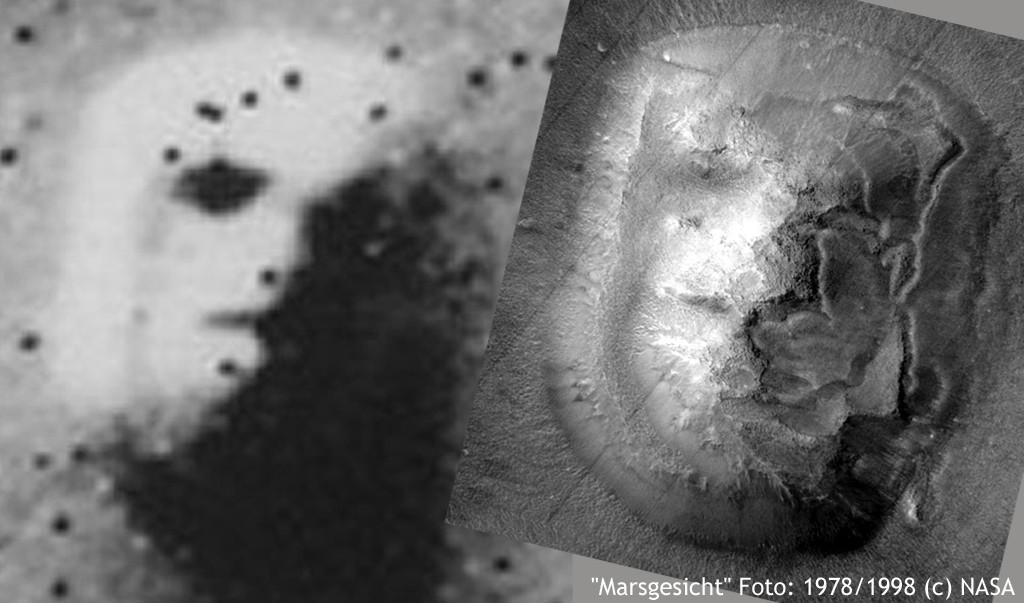 Debunked: Eine Verschwörungstheorie wird enttarnt. Nur, das beeindruckt die Verschwörungstheoretiker wenig. Hier: Das Marsgesicht. Fotos: NASA