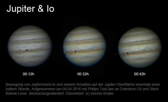 Io zieht seine enge Bahn um Jupiter. Foto: Dennis Knake