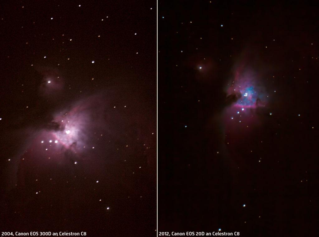 Orionnebel M42 aus 2004 und 2012