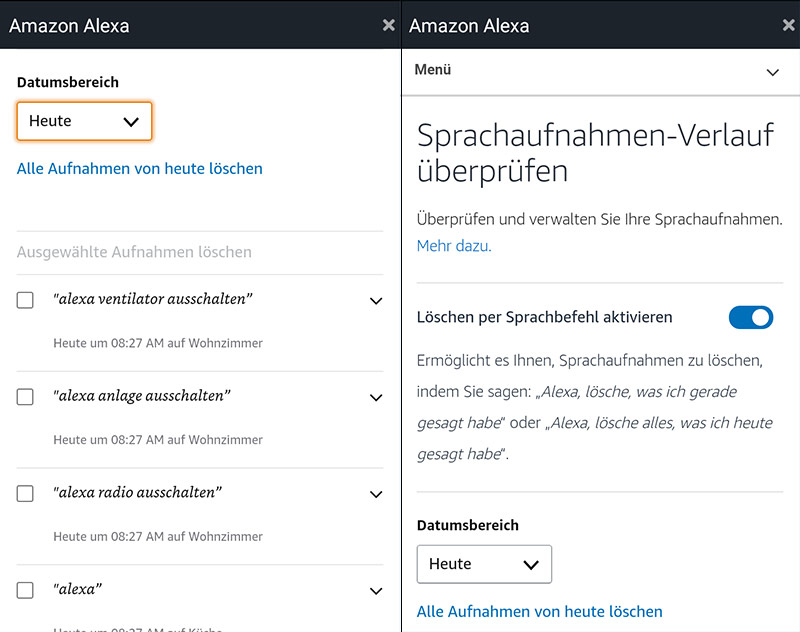 Alexa Sprachbefehle lassen sich jetzt auch auf Zuruf löschen. Das Feature muss in der App zunächst aktiviert werden.