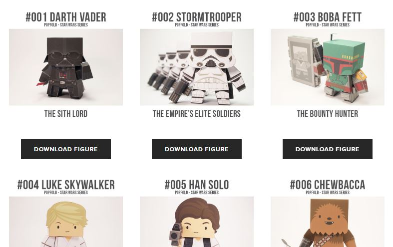 Screenshot: Cubefold Papercraft Star Wars Series. Diese Papiermodelle erinnern an die berühmten Bobble Heads.
