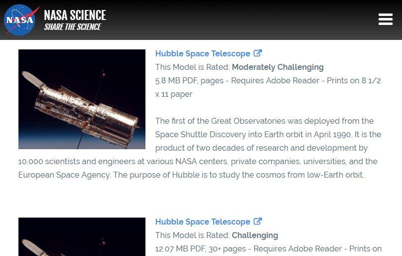 Screenshot: NASA Papercraft Papiermodelle zum Ausdrucken und Selberbasteln. Das Hubble Space Telescope gibt es in unterschiedlichen Detail- und damit Schwierigkeitsstufen.