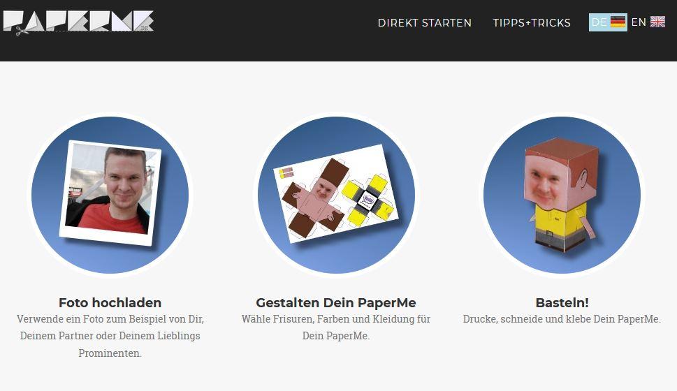 Screenshot: Bei Paperme.de machst Du Dich selbst zur Pappfigur