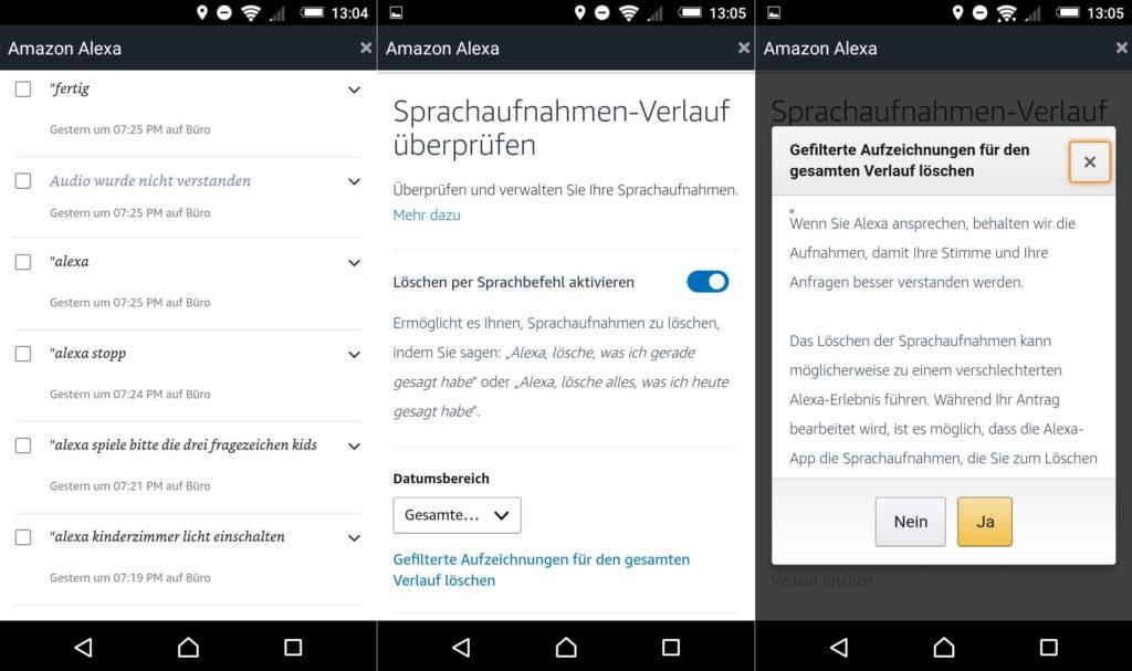 Alexa Sprachbefehle per App löschen